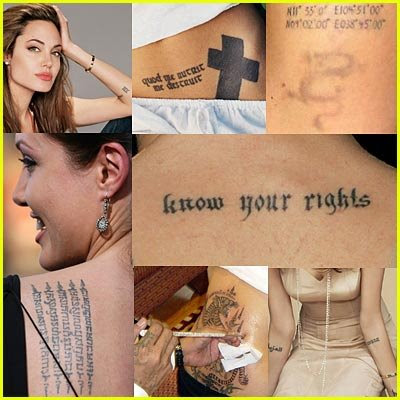 "Angelina Jolie tattoos. She has a history of ""cutting"" herself and her sex"