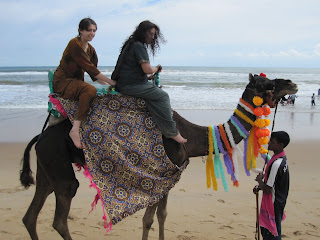Varshana and Nandini take a ride on the beach of Puri