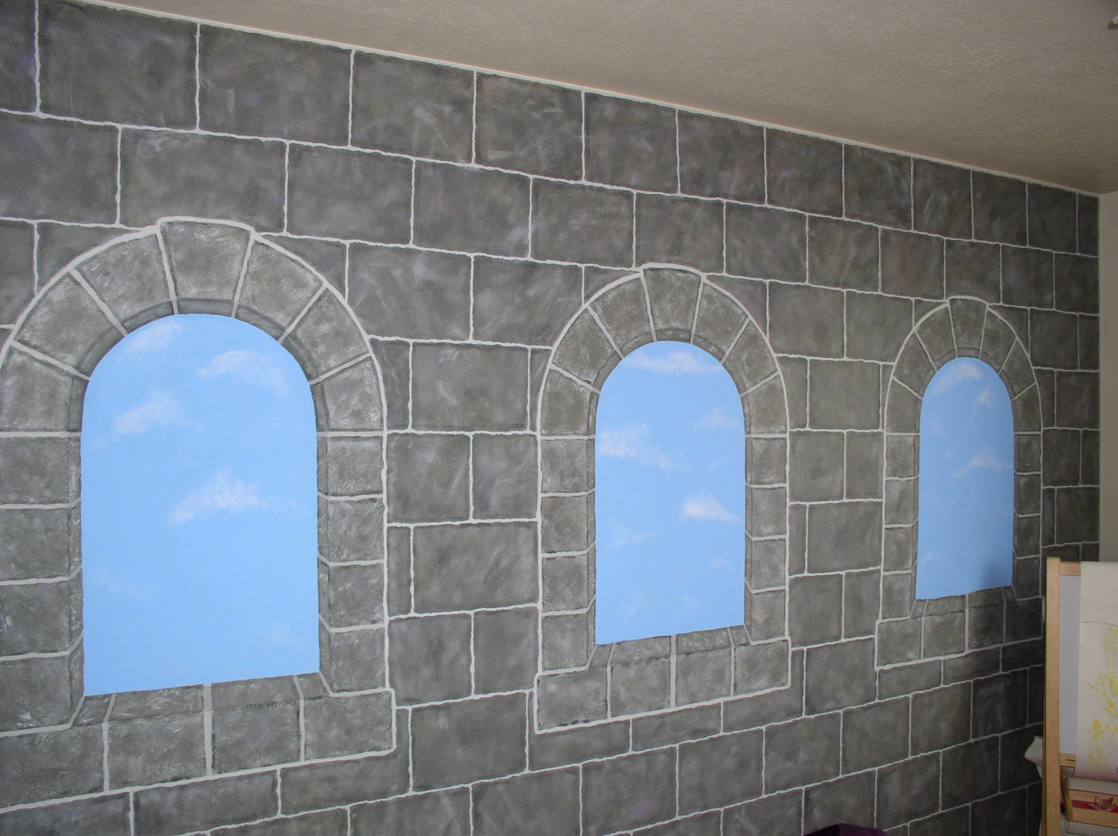 My time and season castle wall i painted cinnamons room to represent a castle wall some of it is freehand used some stencils and lots of time and acrylic paints amipublicfo Images