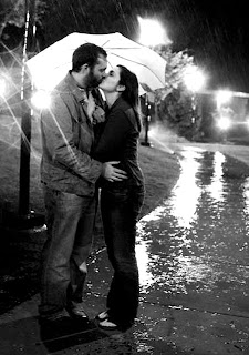 Lovely Couple Kissing in Rain