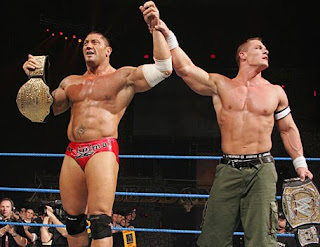 Wrestling superstars John Cena and Batista