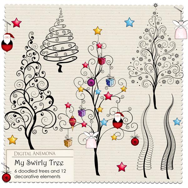 Digital anemona christmas freebie for Christmas card drawing ideas