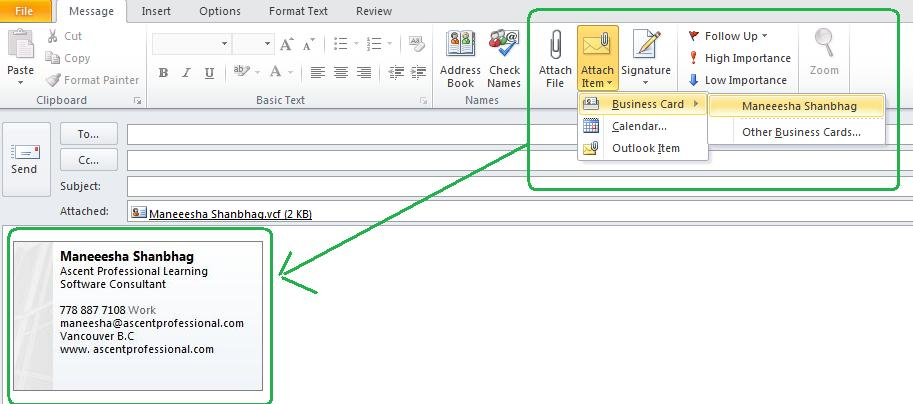 Ascentsofttech how to create and send business card using ms attach business card mail new message attach items business card and then select a card from the list colourmoves