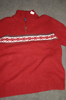 red sweater - before