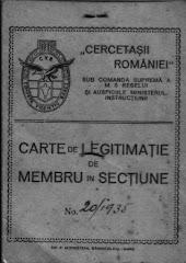 Legitimatie Cercetasii Romaniei