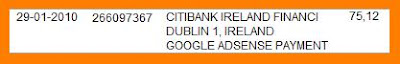 google adsense received in bank account