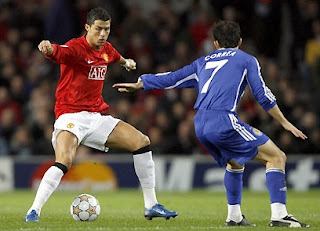 Cristiano Ronaldo tries to trick an opponent in an effort to find a way through Dynamo's defence