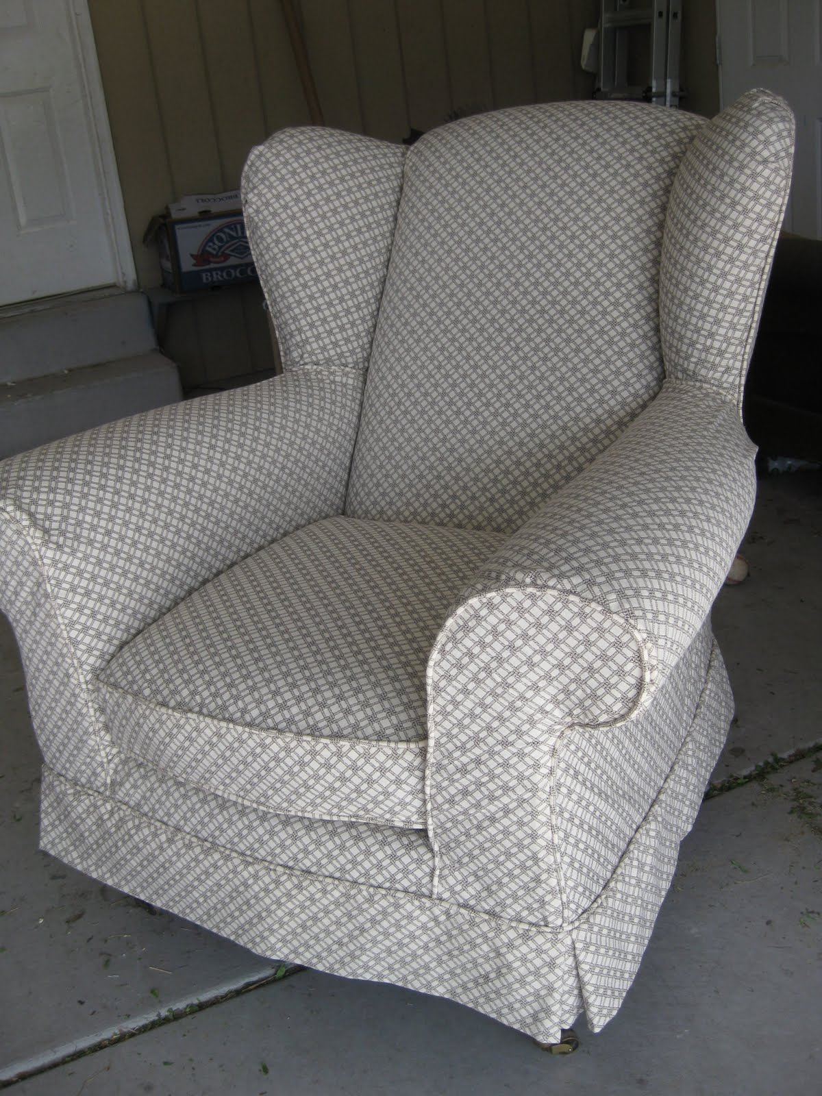 custom slipcovers by shelley loveseat and wingback chair redo