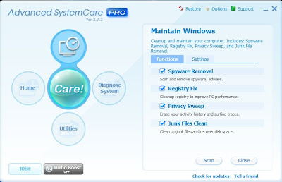 Advanced system care menu