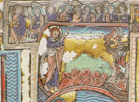 Top enlarge portion that shows council in heaven & the fall of the angels