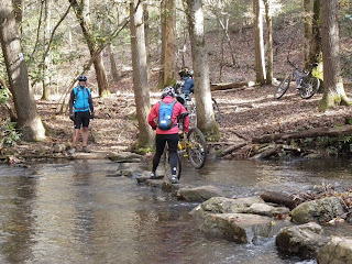 Carrying bikes across stream in Dupont State Forest NC