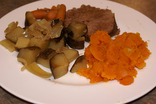  Beef Roast with Potatoes, Butternut Squash