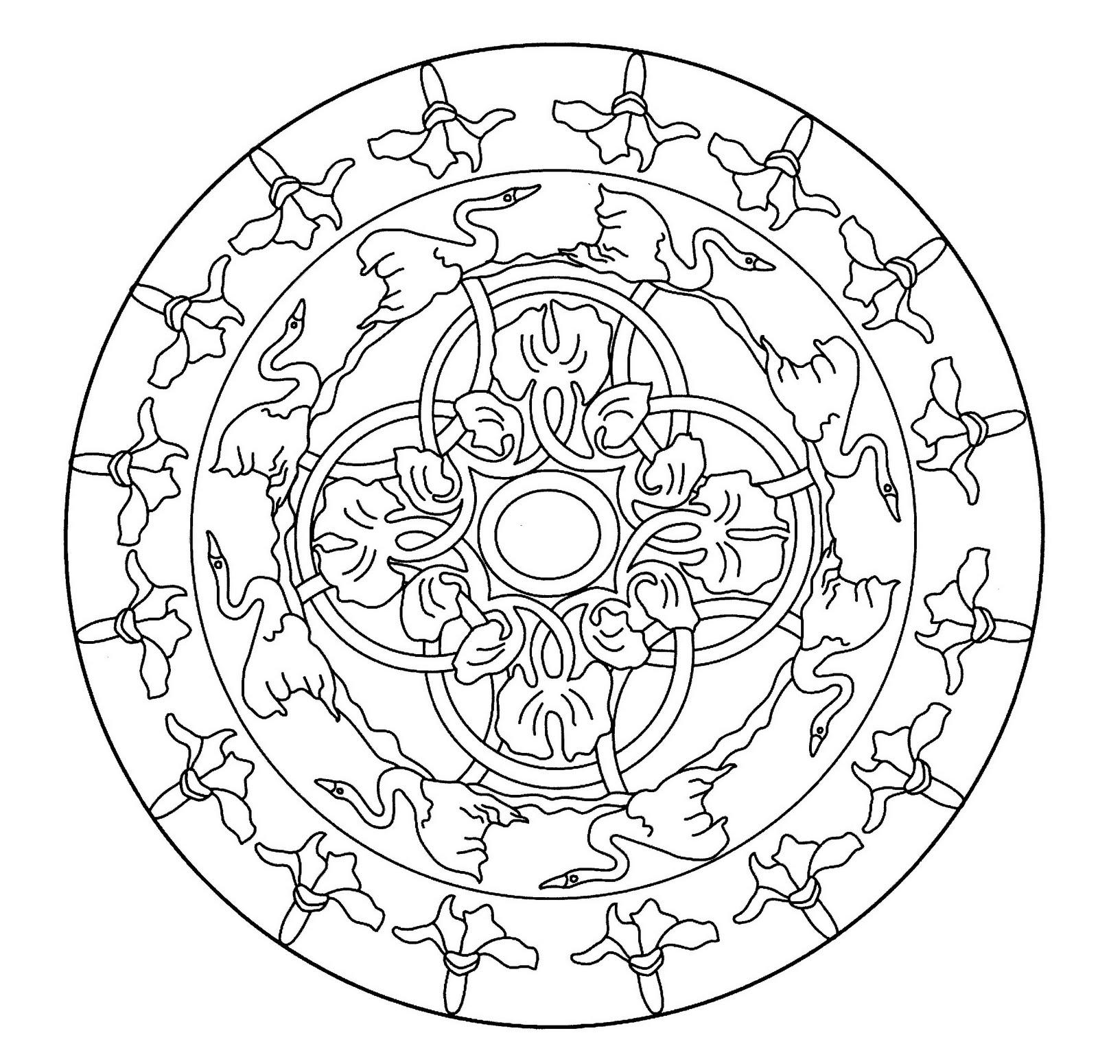 Mandalas Para Pintar: Mandala de flores y aves