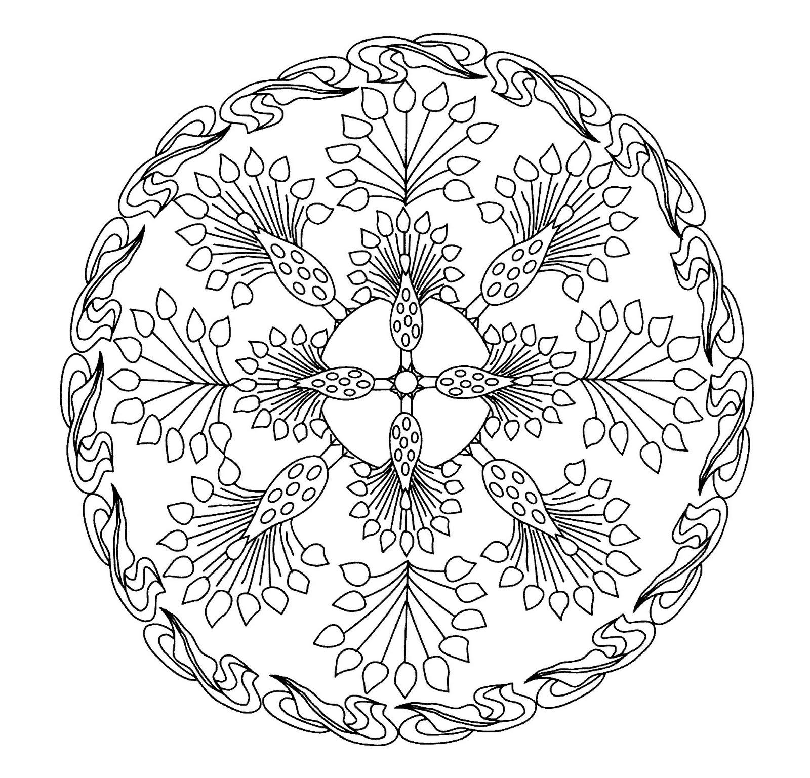 Mandalas Para Pintar: Mandala que asemeja un pavo real