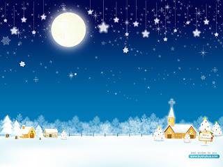 un sat acoperit cu zapada luna stele