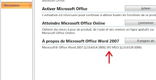 office 2007 comment savoir quel service pack est install astuces hebdo. Black Bedroom Furniture Sets. Home Design Ideas