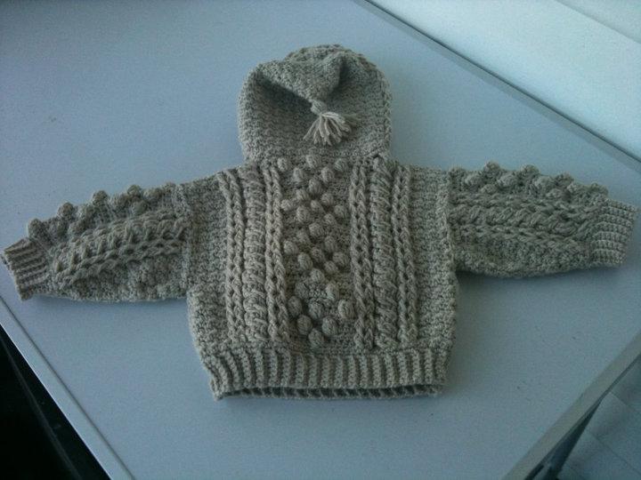 Crochet Baby Hooded Aran Sweater ~ Cottage Guardian
