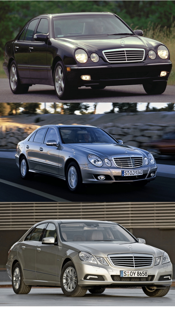 three generations of mercedes e-class, bmw 5-series, audi a6