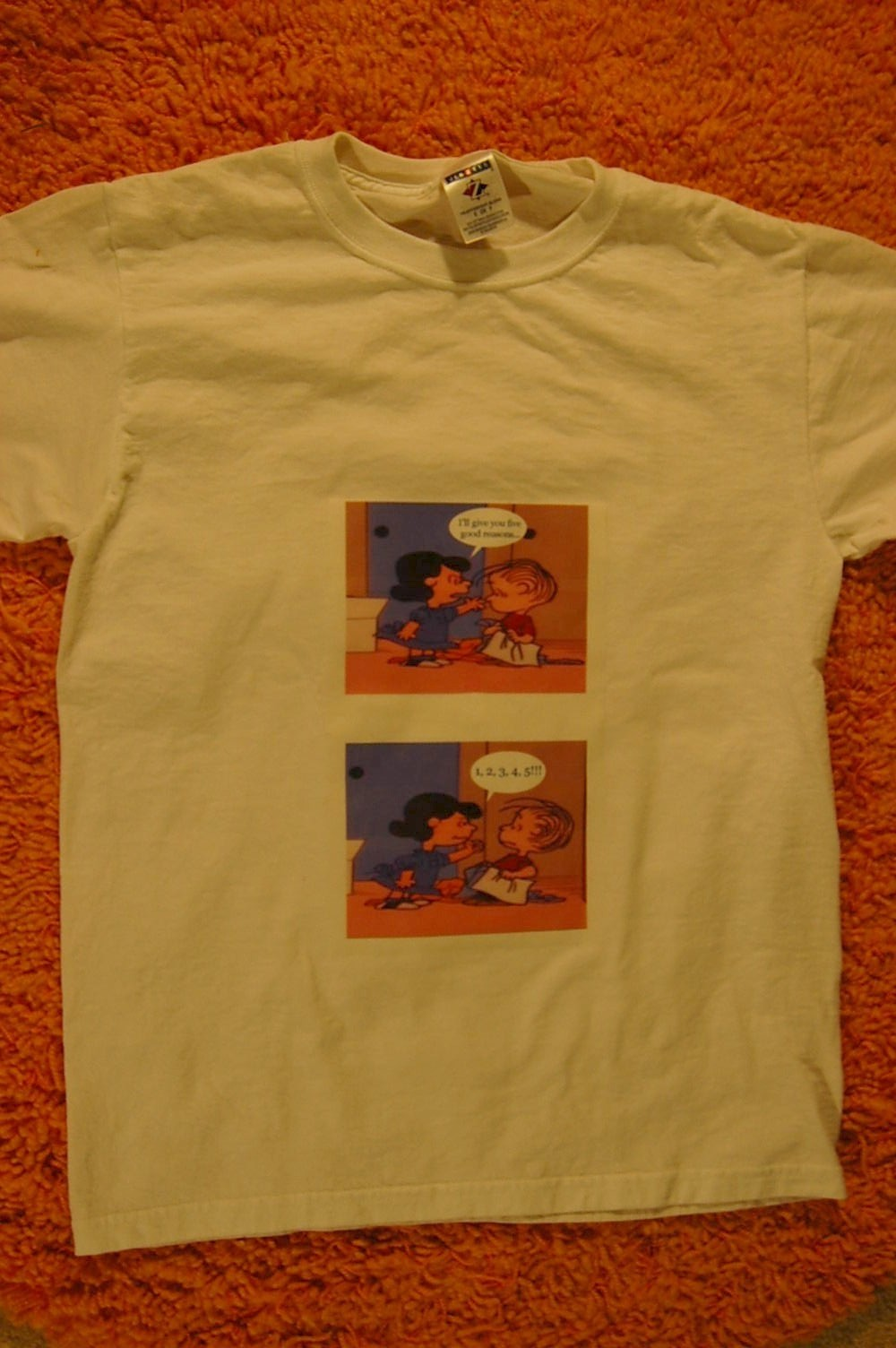 Charlie brown iron on transfer paper shirt the woodland elf for Iron on shirt paper