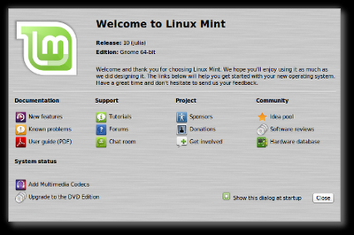 Linux Mint 10 Julia RC Thumb_mintwelcome