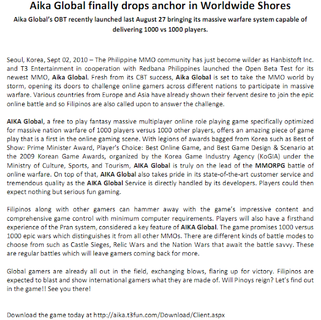Aika Global Press Release
