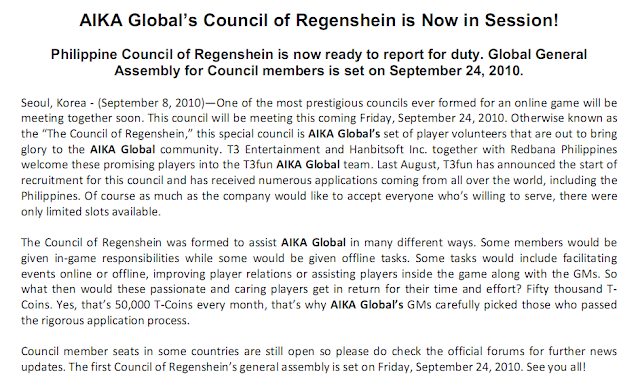 Aika Global Council of Regenshein