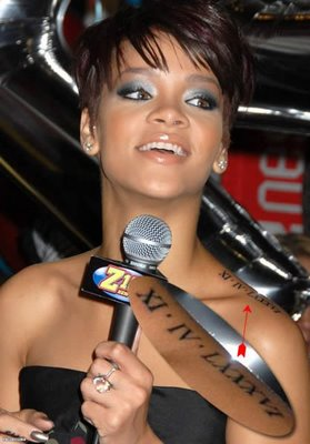 Rihanna Tattoos on Fashion Style Can Save The World   Rihanna S Tattoos