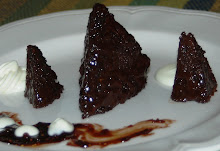 Chocolate Pyramid Tea  Cakes with cocoa fig sauce and chantilly cream