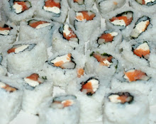 Lox, cream cheese and cucumber ura maki rolls(Philly rolls)