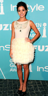 The Newly Named Miss Golden Globe Wore This Gorgeous White Feathered
