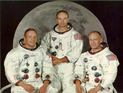 Los tripulantes del Apollo 11. De izquierda a derecha: Neil Armstrong, Michael Collins y Edwin 'Buzz' Aldrin.