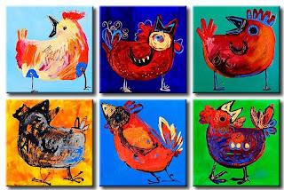 Gallinas de colores - Pintura infantil