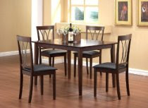 5pcs Solid Top Dining Table with 4 Metal Back Chairs Set