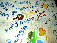 "obra de mujer refugiada sobre sí.   Escribe: ""Me siento como un paisaje por dentro""."