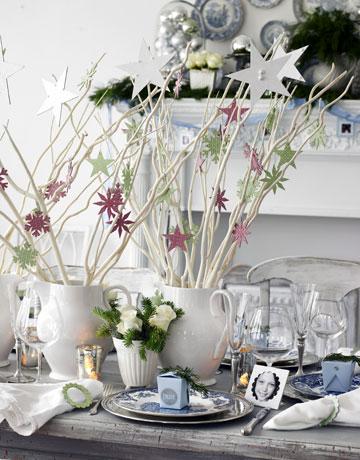 Centros de mesa sin flores - Ramas decoradas ...