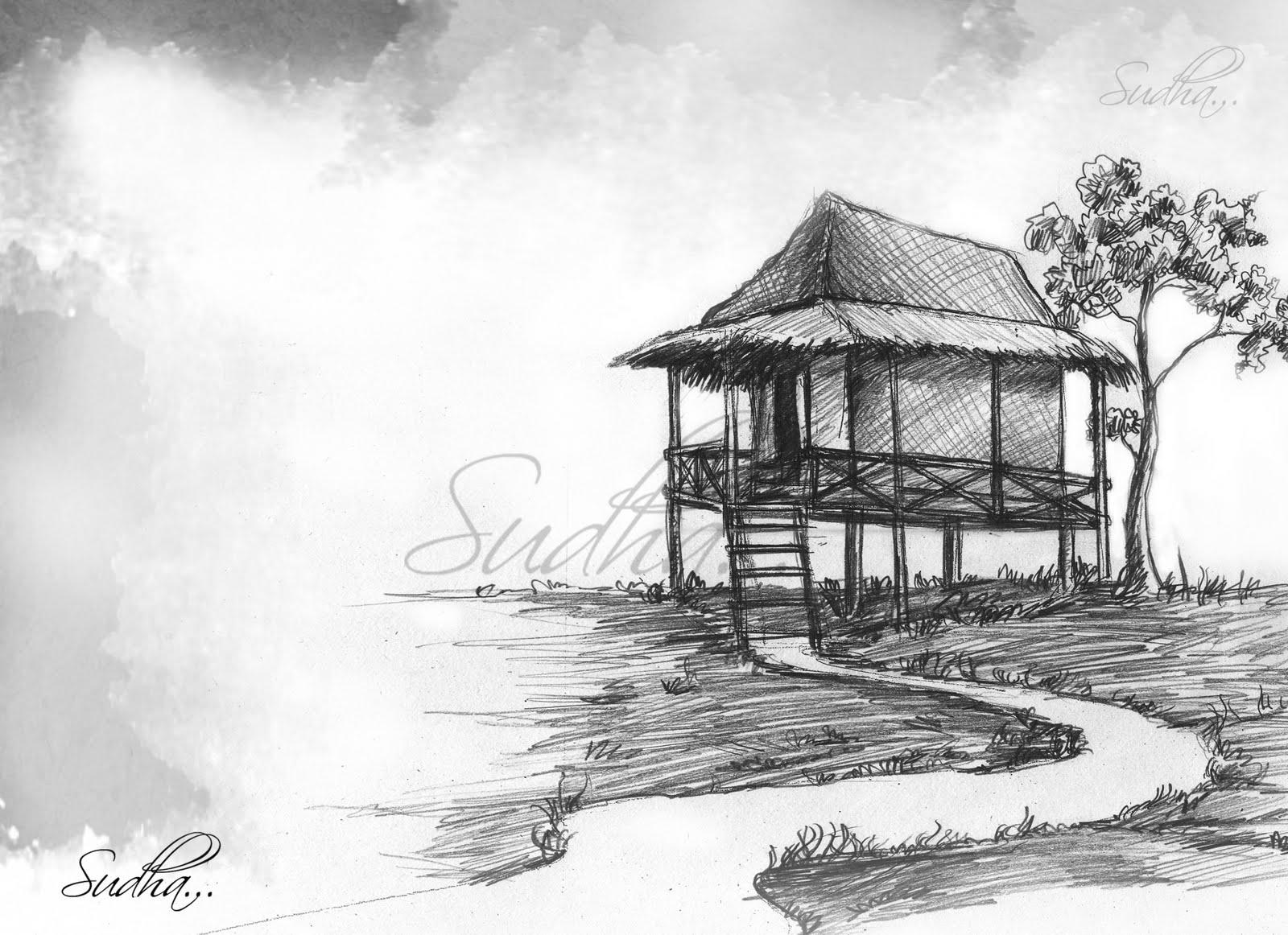 Pencil Drawings Village Pencildrawing2019 Beautiful scenery drawing with watercolor. pencildrawing2019