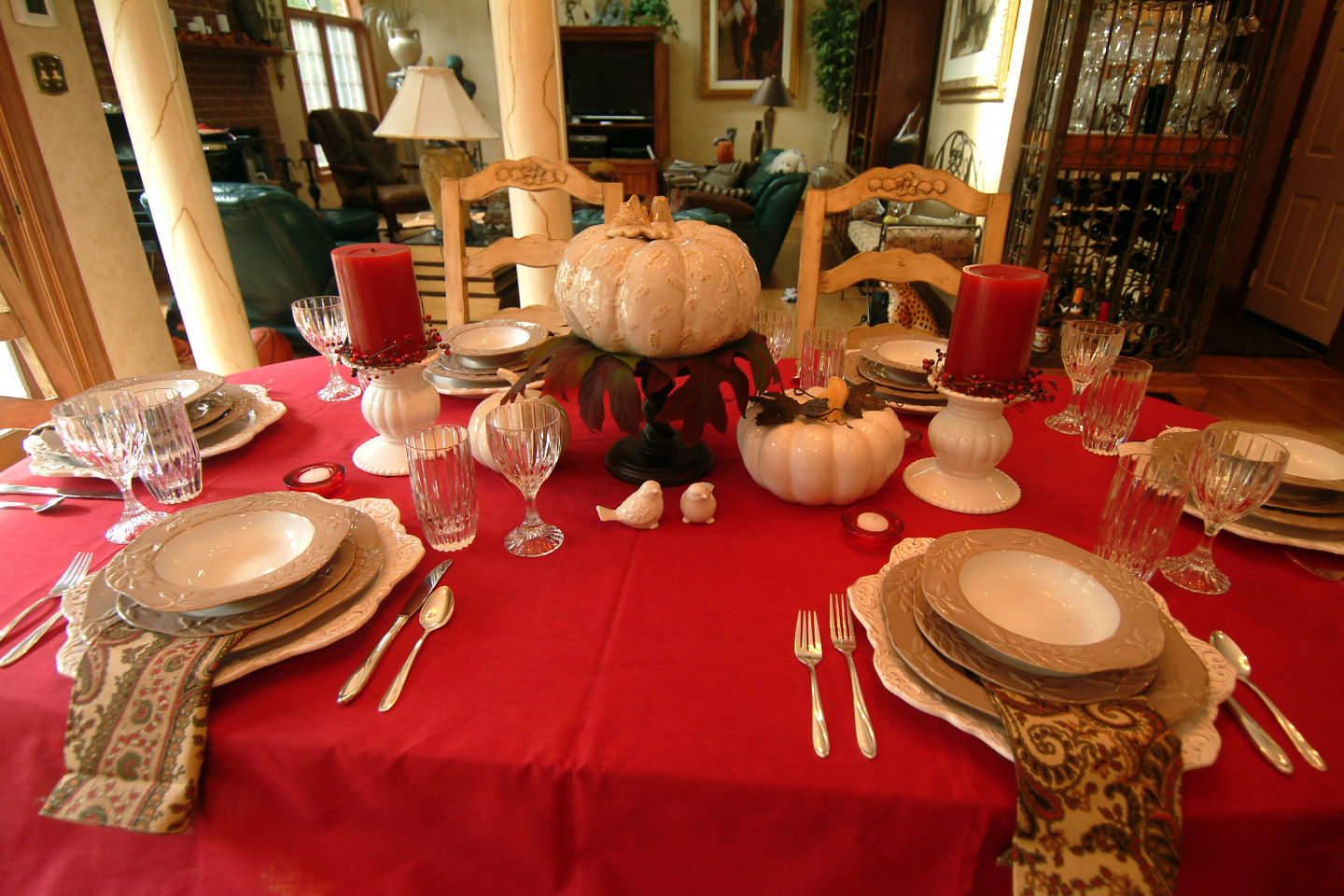 The Centerpiece Pumpkin Came From A Local Gift Shop Thatu0027s Now Closed, And  The Little Bird Su0026P Shakers Are From Pier 1. White Candle Holders Are From  Home ...