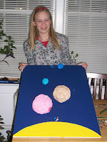 to get this 3-D model of the solar system to scale was harder than it looks.  this is actually the unfinished product - it is minus the rings for saturn.