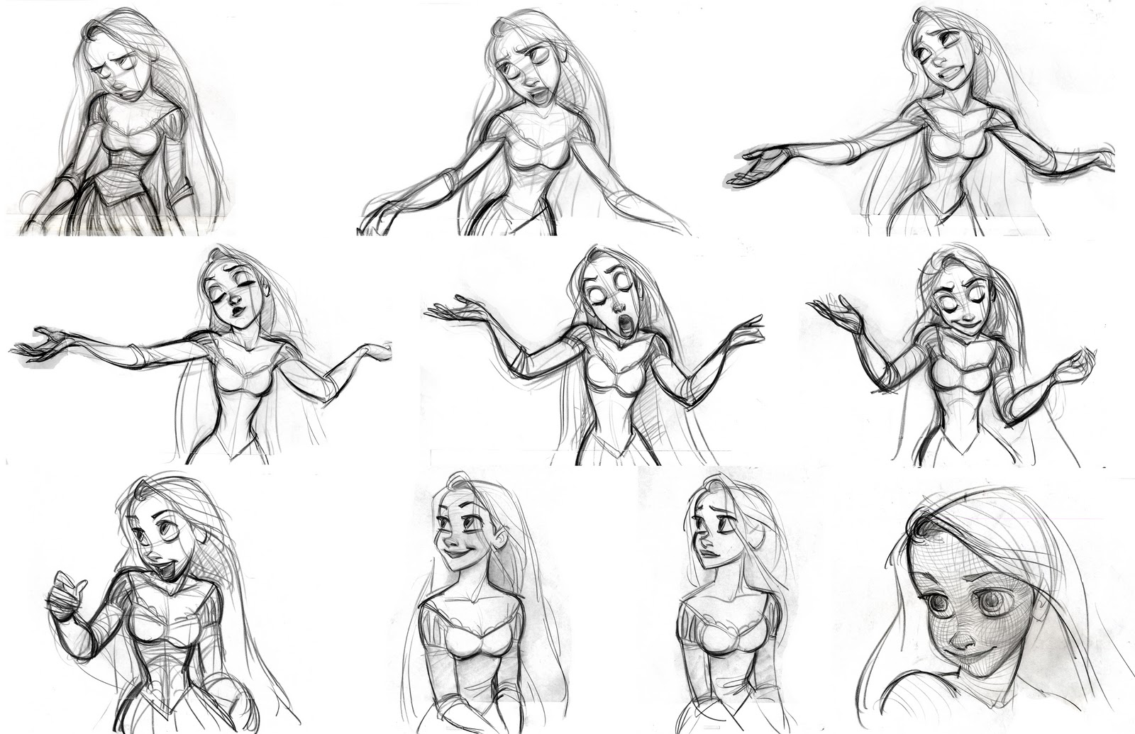 Character Development In Design : Rapunzel character designs expression sheets tangled