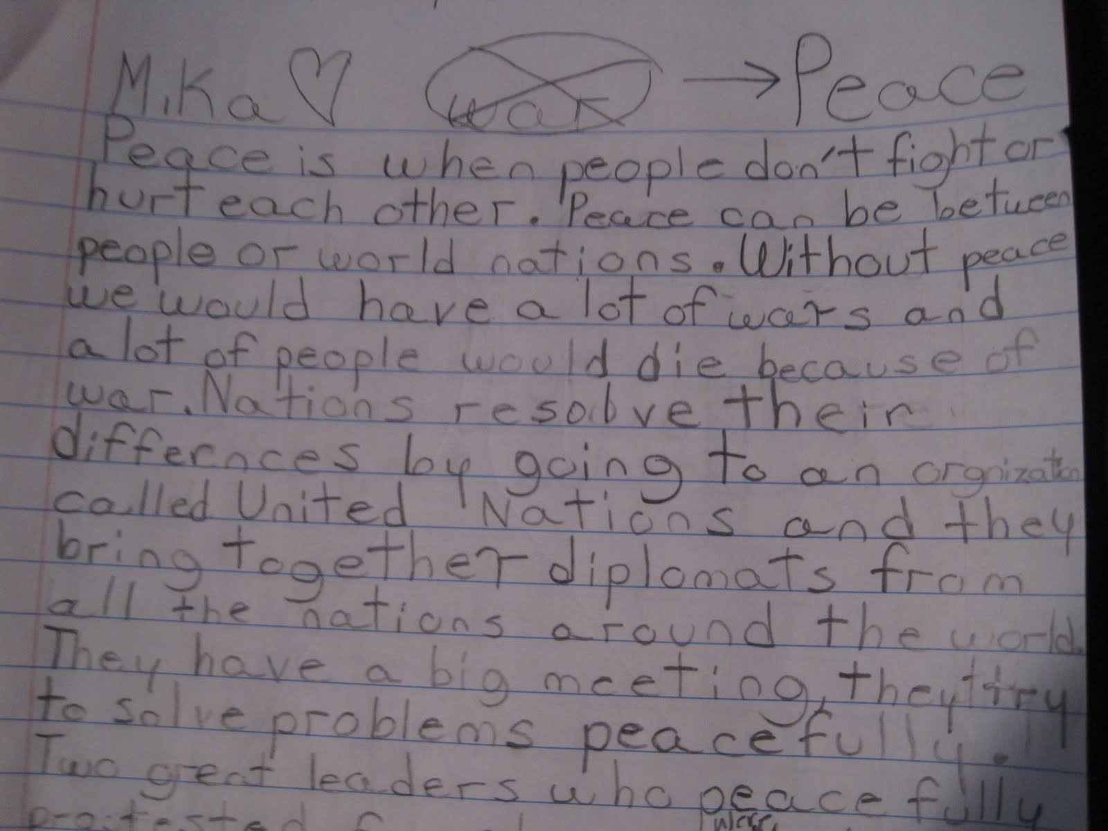 the princess narratives mika wrote this essay for a school essay writing contest about the meaning of peace