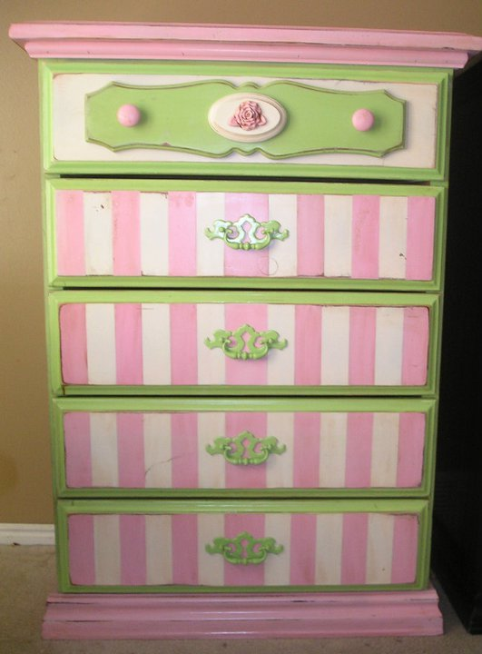 Cute Litte Girls Shabby Chic Dresser I Love The Fun Stripes And Happy Colors SOLD