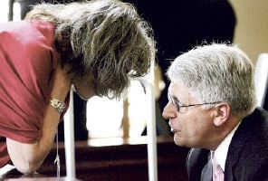 Mike Nifong confers with his wife, Cy Gurney, during a break in misconduct hearing.