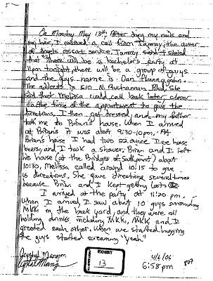 Crystal Gail Mangum - April 6, 2006, written statement, page 1