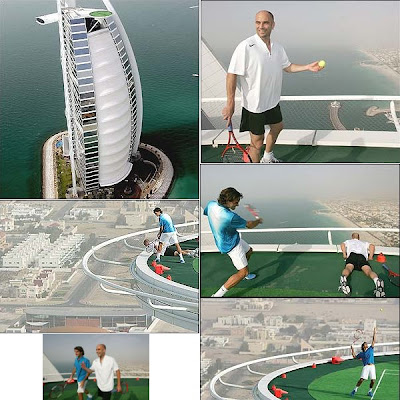 Roger Federer and Andre Agassi play tennis on Burj Al Arab Hotel helipad