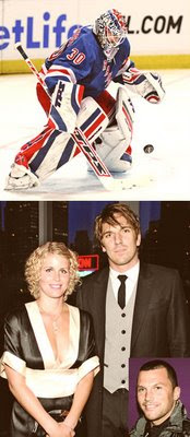 Henrik at his day job (top) and with his girlfriend, Therese Andersson. Inset: Ex-teammate and headline magnet Sean Avery.