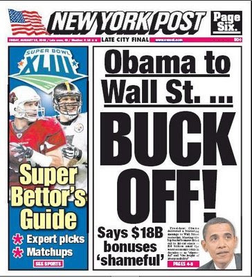 NY Post: Obama says Wall Street corporate behavior, the height of irresponsibility ... shameful