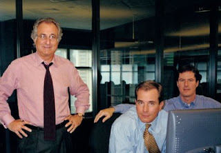 Bernie, Mark, and Andrew Madoff on the trading room of Bernard L. Madoff Investment Securities