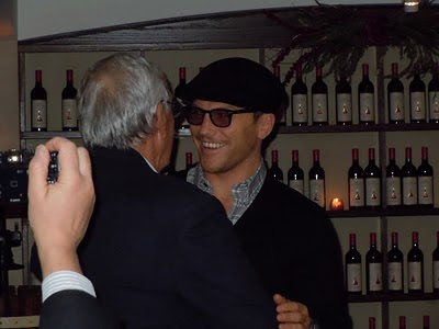 Sean Avery (right) talks with Mike Savino at the Ranger Pundit's 80th birthday party