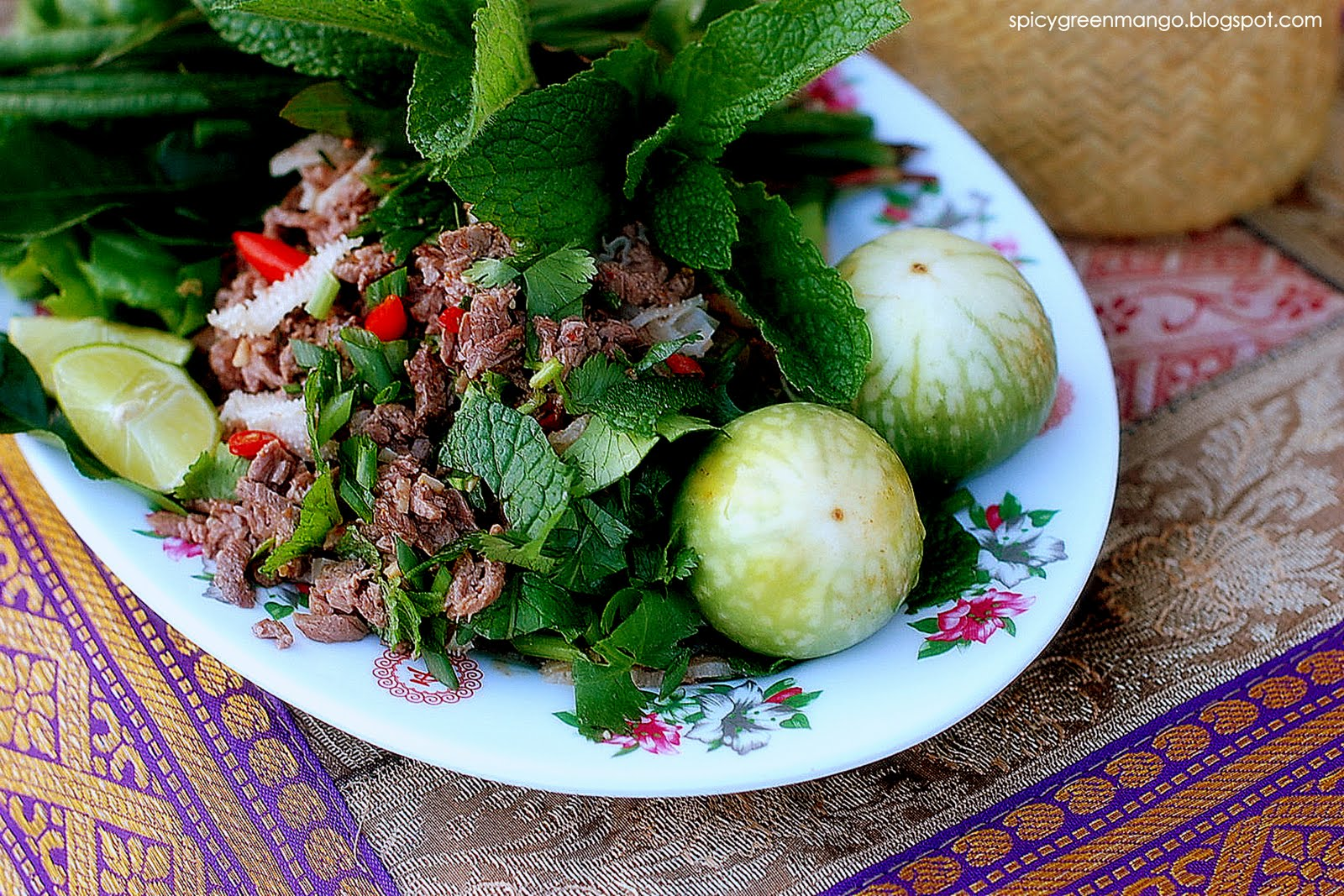 Spicy green mango celebrating with good fortune lao beef salad larb this past weekend my family celebrated our lao new year as with all celebrations in my household home cooked food was the star of the evening forumfinder Choice Image