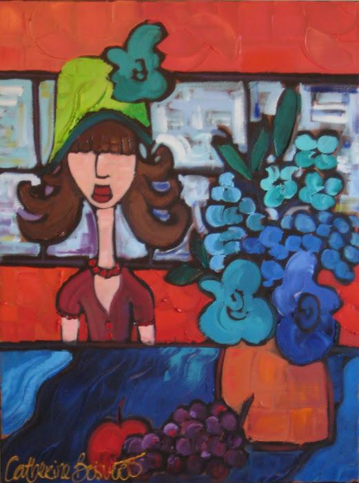 La dame au chapeau vert 24 x 20_Atelier Catherine Boisvert